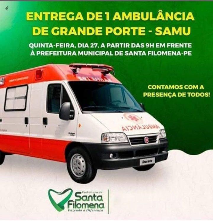 Entrega Ambulância do SAMU em Santa Filomena