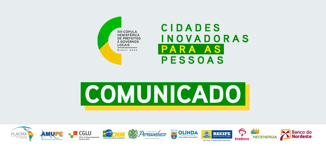 COMUNICADO: XIII Cúpula Hemisférica de Prefeitos e Governos Locais é cancelada