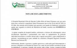 Nota de Esclarecimento do Hospital Municipal Gilza de Macedo Coelho Melo