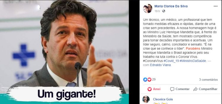 Maria Clarice homenagem ao ministro Mandetta