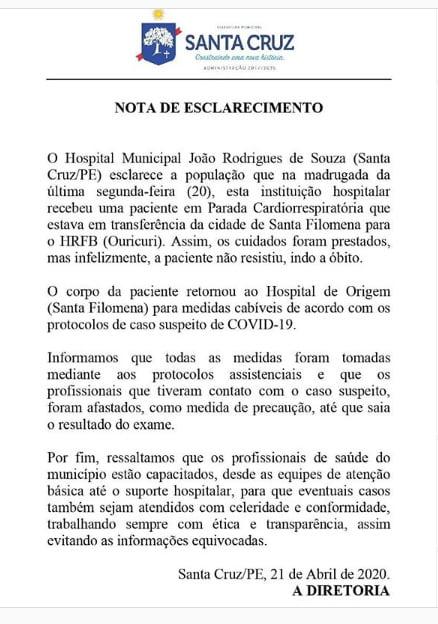 Nota do Hospital João Rodrigues de SOuza de Santa Cruz-PE