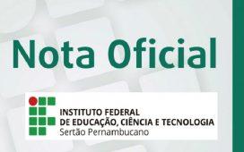 Gabinete da Reitoria emite nota sobre atividades acadêmicas no âmbito do IF Sertão-PE