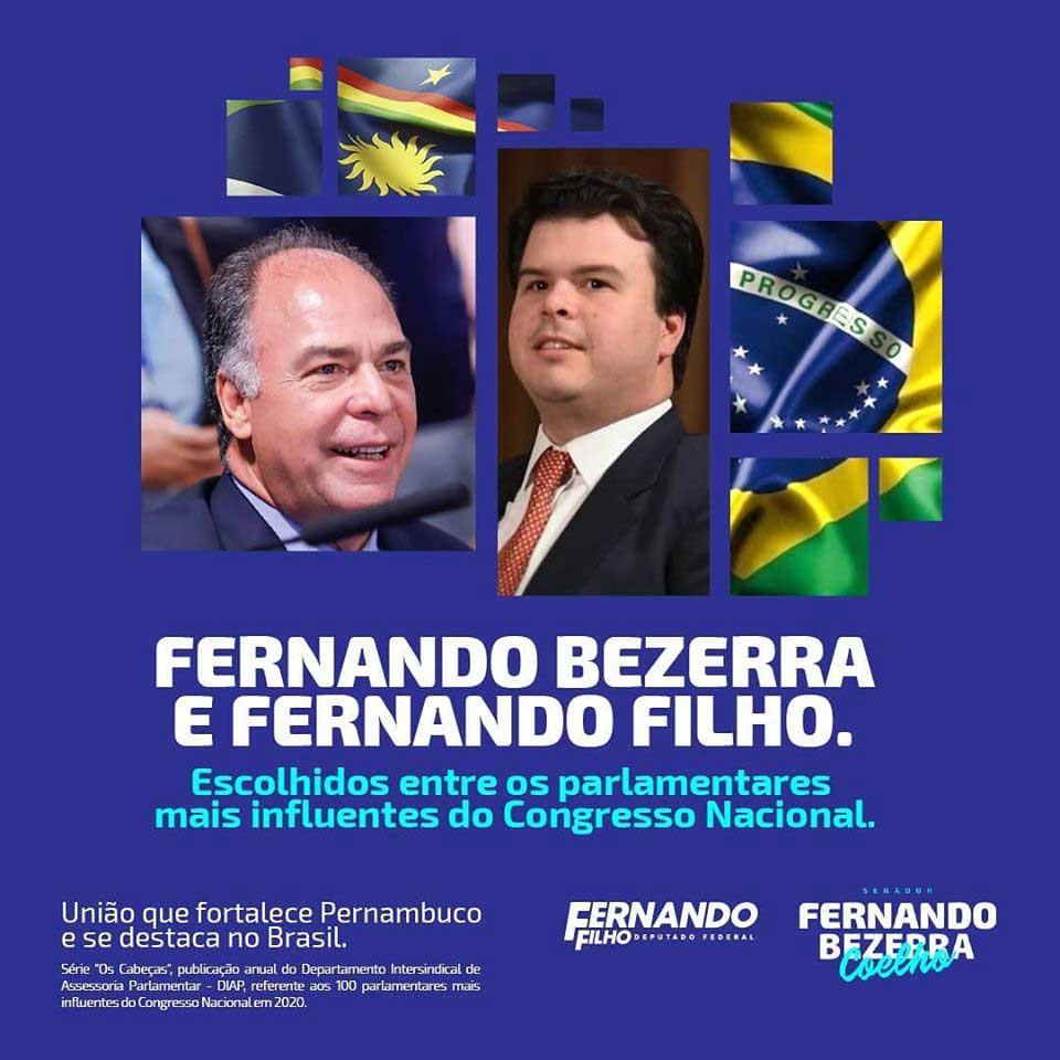 Fernando Bezerra e Fernando Filho escolhidos entre os parlamentares mais influentes do Congresso Nacional