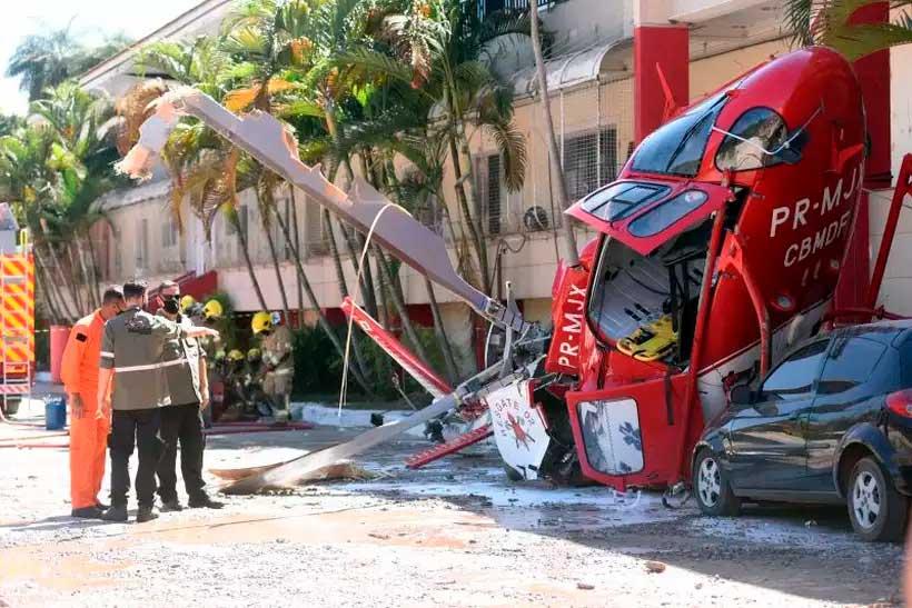 Médicos do Samu contam como foi o socorro na queda de um helicóptero no DF