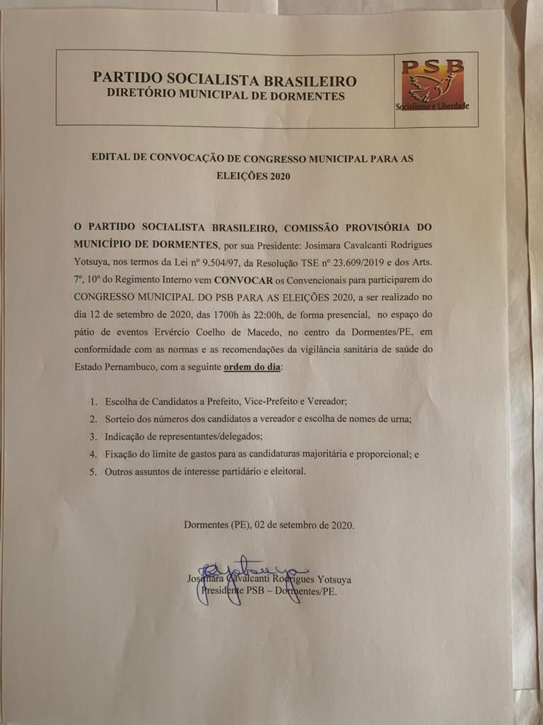 PSB de Dormentes confirma convenção municipal no próximo sábado (12)