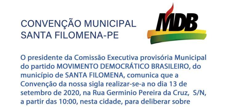 MDB oficializa sua convenção municipal em Santa Filomena-PE