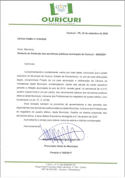 Prefeitura atende reivindicação do SINDSEP e concede reajuste geral pelo Índice da Inflação
