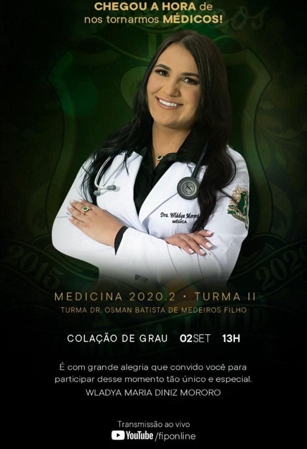 Colação de grau de Wládya Mororó será transmitida ao vivo, hoje as 13h: participe
