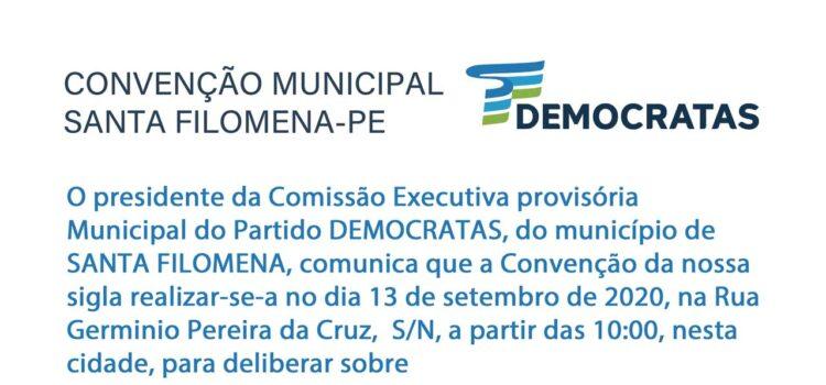 Democratas oficializa sua convenção municipal em Santa Filomena-PE