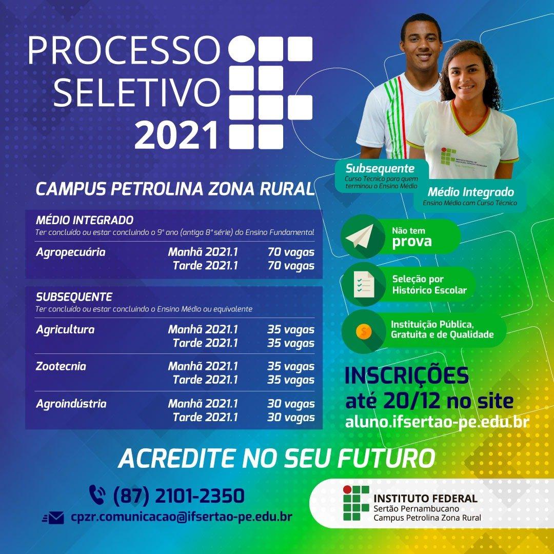 As inscrições para o Processo Seletivo 2021 para cursos técnicos do IF Sertão-PE estão abertas até o dia 20 de dezembro