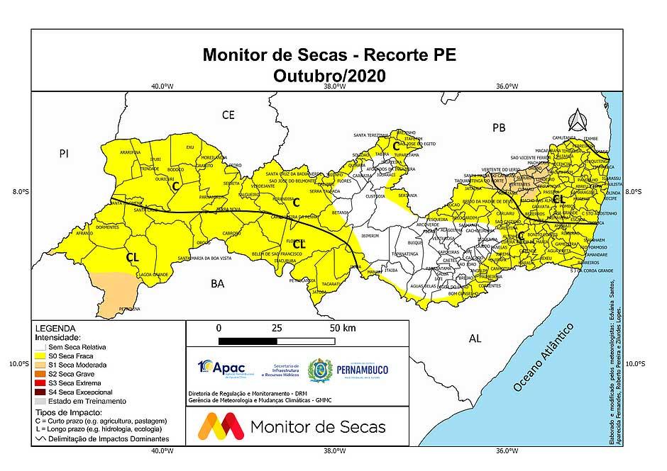 Apac divulga recorte do Monitor de Secas para o Estado de PE no mês de Outubro