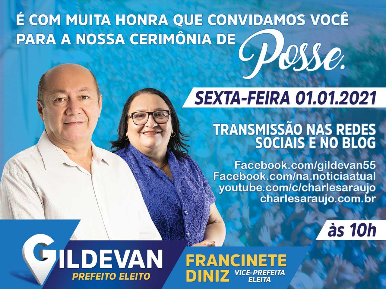 Gildevan Melo e Francinete Diniz convidam para a Cerimônia de Posse, sexta (1)