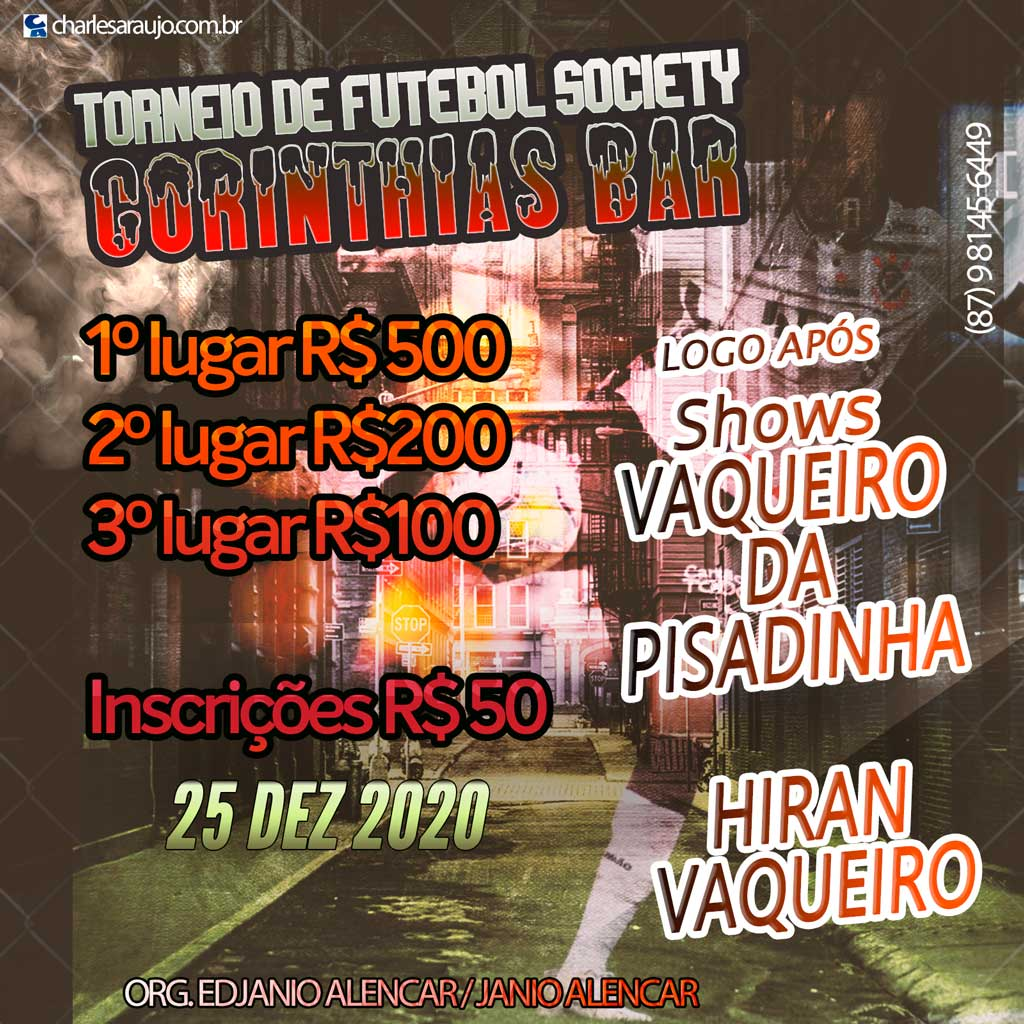 Corinthians Bar realizará 1º Torneio de Futebol Society na Serra…