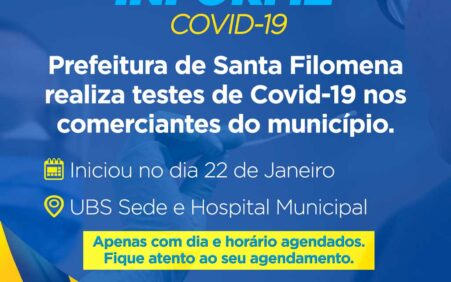 Prefeitura de Santa Filomena realiza testes rápidos da Covid-19 com comerciantes