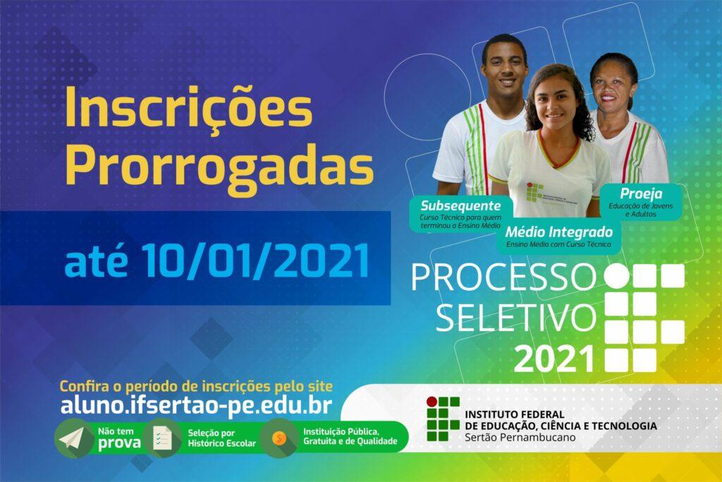 Inscrições para o Processo Seletivo 2021 para cursos técnicos do IF Sertão-PE terminam no domingo (10)