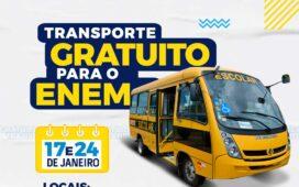 Prefeitura disponibiliza transporte gratuito aos alunos do Enem