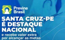 Santa Cruz PE está entre os municípios que alcançaram as metas do Previne Brasil