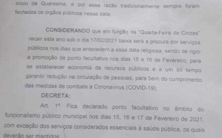 Santa Filomena: Prefeitura decreta ponto facultativo dias 15, 16 e…
