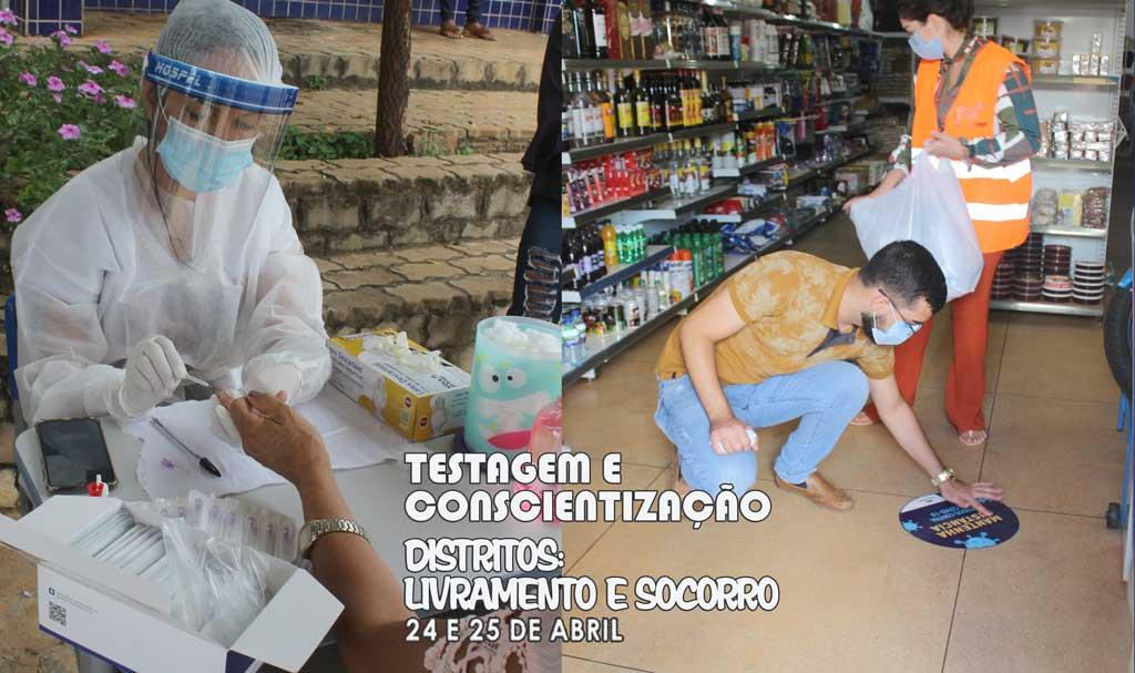 Covid-19: População de Livramento e Socorro foi testada e conscientizada neste final de semana