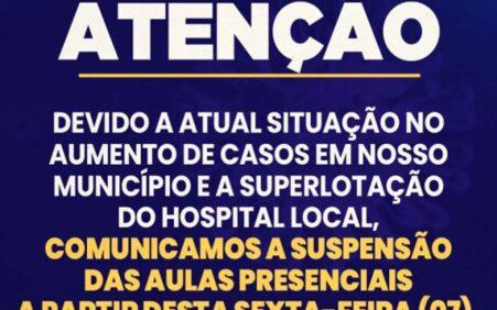 Prefeitura de Santa Cruz suspende aulas presenciais devido aumento de casos Covi-19